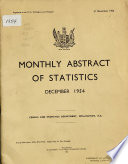 Monthly Abstract of Statistics