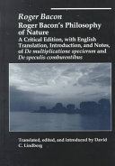 Roger Bacon s Philosophy of Nature