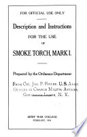 Description and Instructions for the Use of Smoke Torch  Mark I