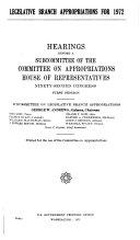 Legislative Branch Appropriations for 1972