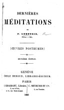 Pdf Dernières Méditations. ... (Œuvres posthumes.) Deuxième édition
