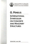 G  Penelis International Symposium on Concrete and Masonry Structures  Thessaloniki  October 2000 Book