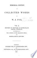 Memorial Edition of Collected Works of W  J  Fox Book PDF