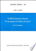 The Biblical Commission s Document  The Interpretation of the Bible in the Church