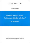 """The Biblical Commission's Document """"The Interpretation of the Bible in the Church"""""""