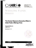 The Human Resource Executive Effect In Initial Public Offering Firms