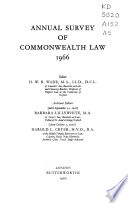 Annual survey of Commonwealth law, 1966