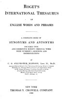 Roget s International Thesaurus of English Words and Phrases