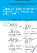 Canadian Prairie Mennonite Ministers' Use of Scripture
