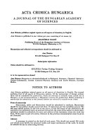 Acta Chimica Hungarica