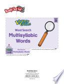 Multisyllabic Words Word Search Literacy Center Book PDF