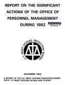 Report on the Significant Actions of the Office of Personnel Management During