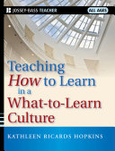Pdf Teaching How to Learn in a What-to-Learn Culture Telecharger