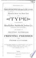Shniedewend   Lee Co s Specimen Book and Price List of Type Book