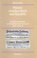 Provinz zwischen Reich und Republik