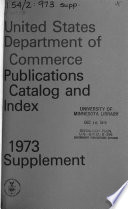 The United States Department of Commerce Publications  Catalog and Index Supplement Book