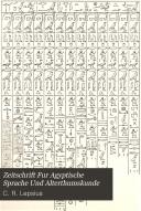 Zeitschrift Fur Agyptische Sprache Und Alterthumskunde