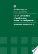 Select Committee Effectiveness Resources And Powers