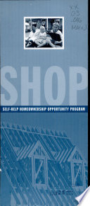 SHOP, Self-help Homeownership Opportunity Program