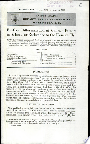 Read Online Further Differentiation of Genetic Factors in Wheat for Resistance to the Hessian Fly Full Book