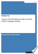Aspects of Verbal Behavior  Files From The Pacific Language Institute