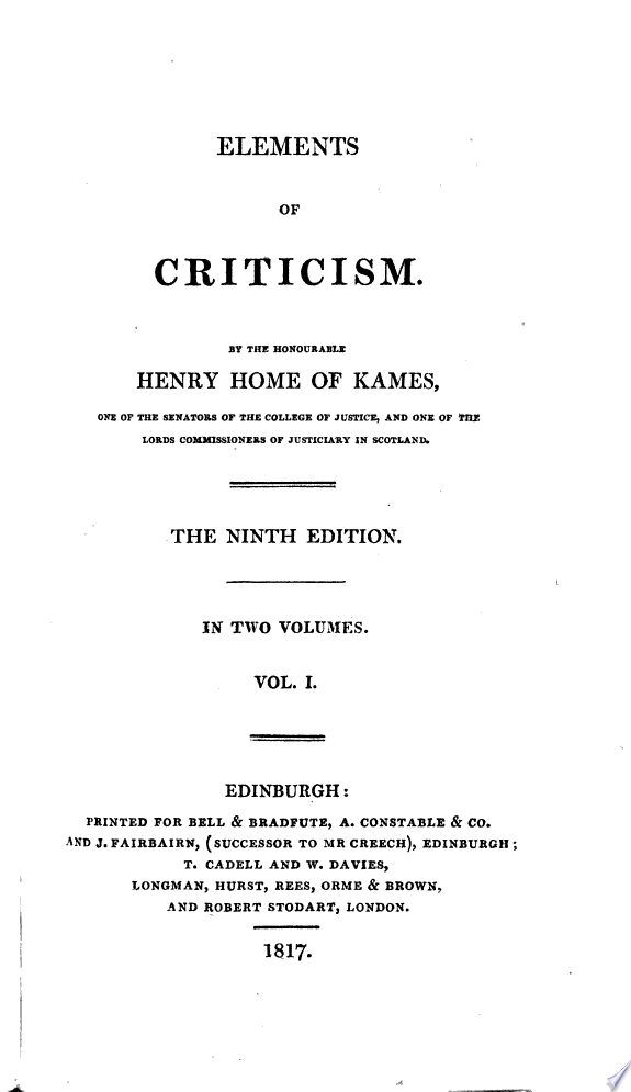 Elements of criticism [by H. Home].