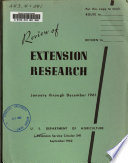 Review Of Extension Research January Through December 1961