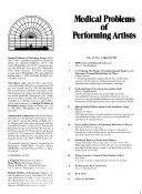 Medical Problems of Performing Artists Book