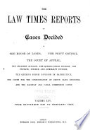 The Law Times Reports of Cases Decided in the House of Lords  the Privy Council  the Court of Appeal      new Series   Book