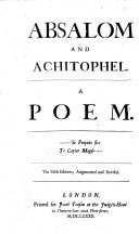 The Second Part of Absalom and Achitophel     The Second Edition   By N  Tate and John Dryden