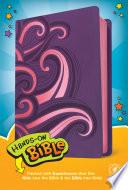 Hands On Bible NLT  Leatherlike  Purple Pink Swirls