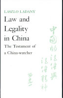 Law and Legality in China