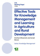Effective tools for knowledge management and learning in agriculture and rural development