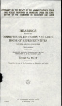 Oversight on the Impact of the Administration s Fiscal 1986 Budget Proposals on Programs Under the Jurisdiction of the Committee on Education and Labor