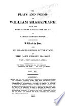 The Plays and Poems of William Shakespeare: Pericles. Titus Andonicus. Addenda. Indexes