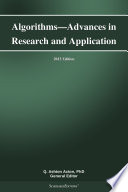 Algorithms   Advances in Research and Application  2013 Edition Book
