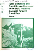 Public Comments and Forest Service Responses to the DEIS, Proposed Coronado National Forest Plan ebook