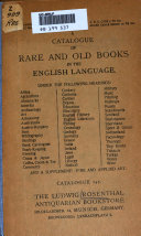 A Catalogue Of Rare And Old Books In The English Language And A Supplement Fine And Applied Art