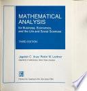 Mathematical Analysis for Business, Economics, and the Life and Social Sciences
