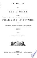 Catalogue of the Library of the Parliament of Ontario
