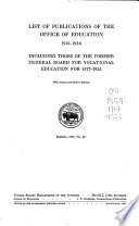 List of Publications of the Office of Education