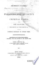 Archbold S Summary Of The Law Relative To Pleading And Evidence In Criminal Cases
