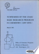 Summaries of the USAEC Basic Research Program in Chemistry