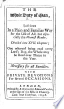 The Whole Duty of Man, Laid Down in a Plain and Familiar Way, Etc. [By Richard Allestree?]
