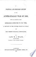 A Political and Military Review of the Austro Italian War of 1866 Book