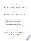 On the Winter solstice  A Descriptive Poem