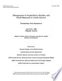 Management of Amphibians  Reptiles  and Small Mammals in North America