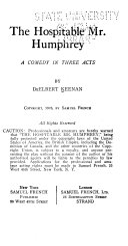 The Hospitable Mr  Humphrey Book