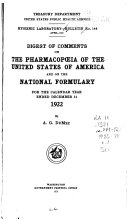 Digest of Comments on The Pharmacopoeia of the United States of America and The National Formulary for the Calendar Year Ending December 31