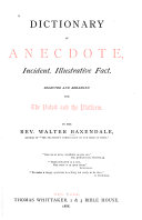 Dictionary of Anecdote  Incident  Illustrative Fact